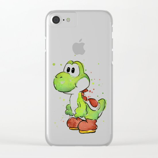 Yoshi Watercolor Mario Clear iPhone Case