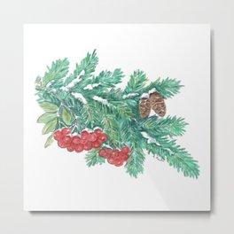 Pine Needles and Berries Metal Print