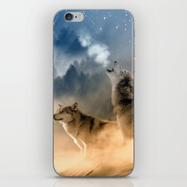 Wolfs under the mountain's sky iPhone Skin