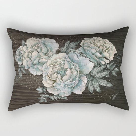 Peony Wood Rectangular Pillow