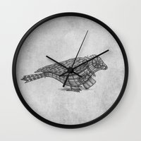 clockwork Wall Clocks featuring Clockwork Bird  by Terry Fan