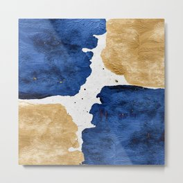 Gold and Navy Blue paint Metal Print