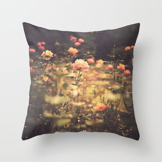 One Rose in a Magic Garden (Vintage Flower Photography) Throw Pillow
