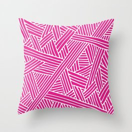 Abstract pink & white Lines and Triangles Pattern - Mix and Match with Simplicity of Life Throw Pillow
