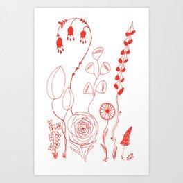 Flowers orange illustration Art Print
