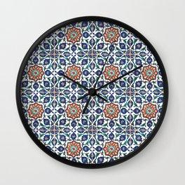 Iznik Tile Pattern Red Blue White Wall Clock