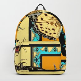 BUTTERFLY WESTERN YELLOW-ORANGE-TURQUOISE INSECT  PATTERNS Backpack