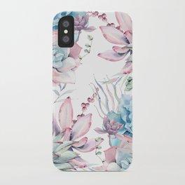 Pretty Pastel Succulents Garden 2 iPhone Case