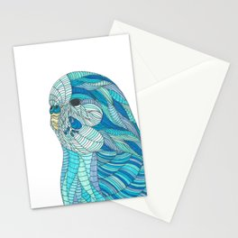 'Stained Glass Budgie' Ombre Blue Line work Geometric Illustrated Budgie Stationery Cards