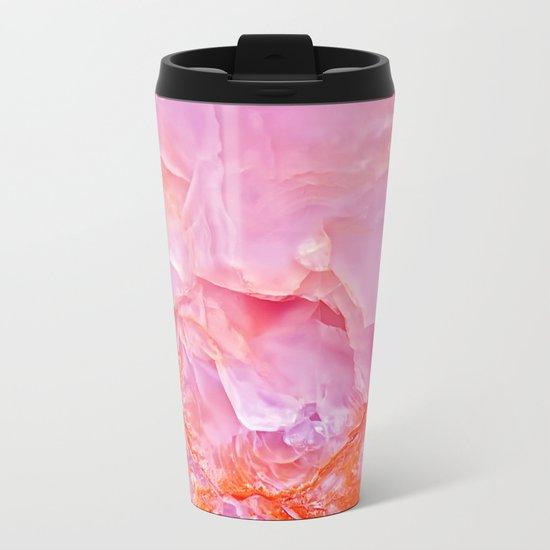 Pink onyx marble Metal Travel Mug