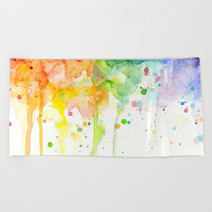 Rainbow Watercolor Pattern Texture Beach Towel