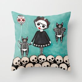 Day of the Dead Cats 9 Throw Pillow