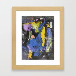 Dancing The Night Away Blue Black Yellow Abstract Framed Art Print
