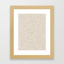 Spacey Melange - White and Khaki Brown Framed Art Print