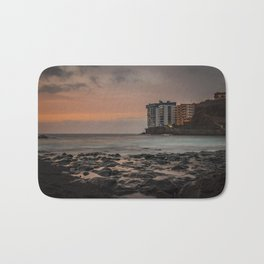 Sunset with long exposure on a beach of Tenerife. Bath Mat