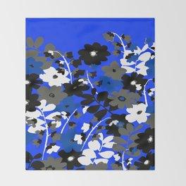 SUNFLOWER TRELLIS BLUE BLACK GRAY AND WHITE TOILE Throw Blanket