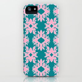 Katherine - Digital Symmetrical Abstract in Pink and Teal iPhone Case