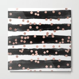 Girly rose gold confetti black watercolor stripes Metal Print
