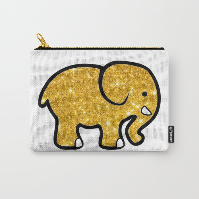 Gold Glitter Elephant Carry-All Pouch