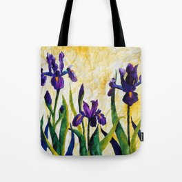 Watercolor Wild Iris on Wrinkled Paper Tote Bag