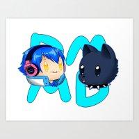 dmmd Art Prints featuring DMMD- chibi Aoba and Ren by prpldragon