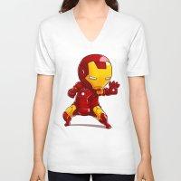 ironman V-neck T-shirts featuring IRONMAN by MauroPeroni