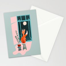 Fox and moon Stationery Cards
