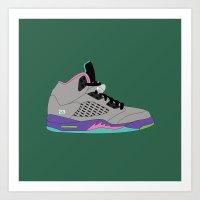 air jordan Art Prints featuring Air Jordan 5 by Dennis Cortes
