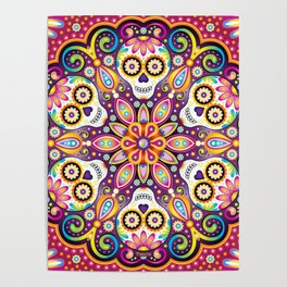 Sugar Skull Mandala - Day of the Dead Mandala Art by Thaneeya McArdle Poster