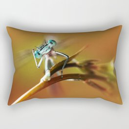 Blue dragonfly on pink flower Rectangular Pillow