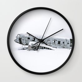 Plane Wreck in Iceland in Winter - Landscape Photography Minimalism Wall Clock