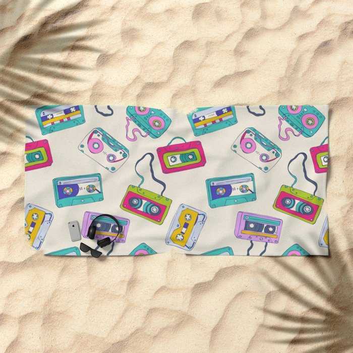 Vintage Cassette Tape Pattern Beach Towel
