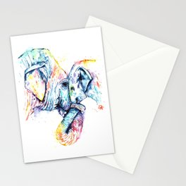 Elephant Mom and Baby Painting - Colorful Watercolor Painting by Whitehouse Art Stationery Cards