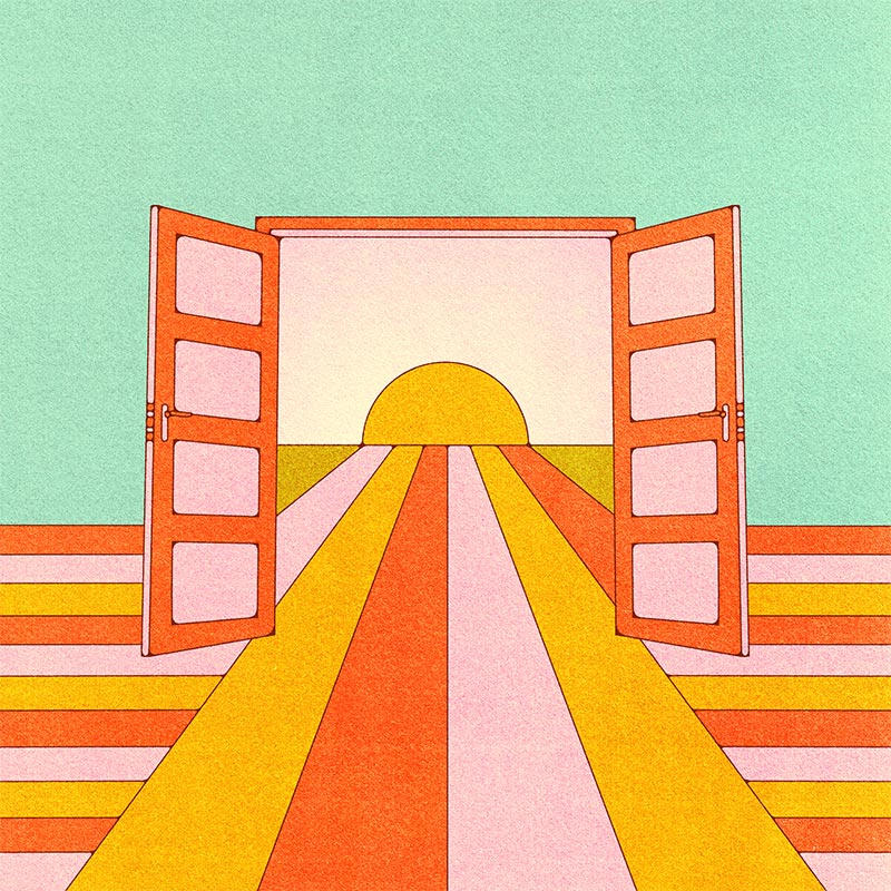 retro style illustration of an open window looking at the sunrise