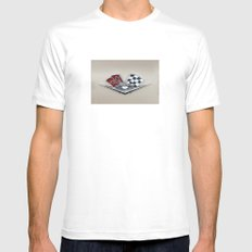 Vintage Corvette Logo (Flags) - Classic Cars Mens Fitted Tee White SMALL