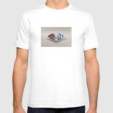 Vintage Corvette Logo (Flags) - Classic Cars MEDIUM White Mens Fitted Tee