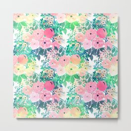 Pretty Pink Yellow & Green Watercolor floral paint Metal Print