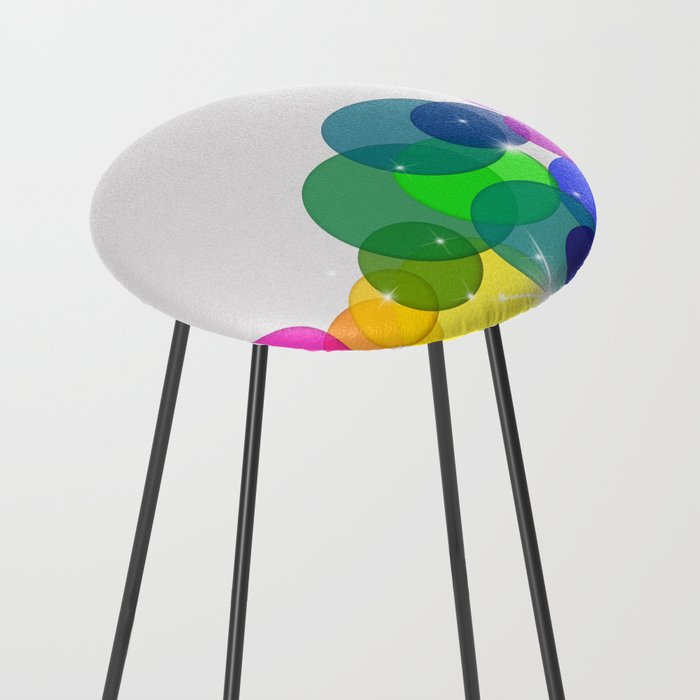 Translucent Rainbow Colored Circles with Sparkles - Multi Colored Counter Stool