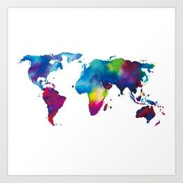 World Map - Colorful Art Print