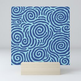 Ripple Effect Pattern Blue on Blue Mini Art Print