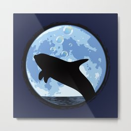 Dolphin bubbly in the moonlight Metal Print