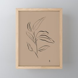 Leaf Stem: Botanical Print (Black and Brown) Framed Mini Art Print