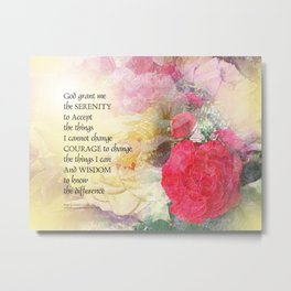 Serenity Prayer Peonies and Roses Metal Print