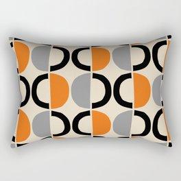 Mid Century Modern Half Circle Pattern 548 Beige Black Gray and Orange Rectangular Pillow