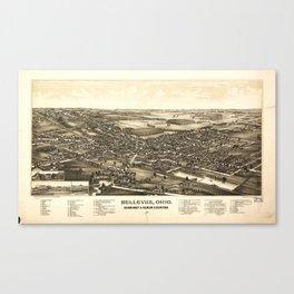 Aerial View of Bellevue Ohio Sandusky & Huron counties (1888) Canvas Print