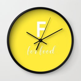 F for Food Yellow white Wall Clock