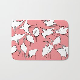 """Hokusai (1760-1849) """"Cranes from Quick Lessons in Simplified Drawing""""(edited) Bath Mat"""