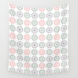 Pastel Pink and Green Floral Wall Tapestry