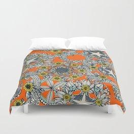 cirque fleur orange stone star Duvet Cover