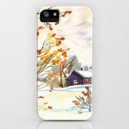 Late Autumn. First Snow. Rural Landsape. Birches iPhone Case